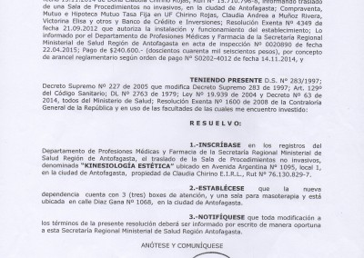 Resolución Sanitaria Kinesiología - 2675 - 20-04-15
