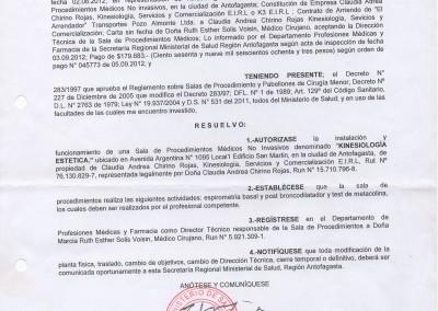 Resolución Sanitaria Kinesiología - 4349 - 21-09-12