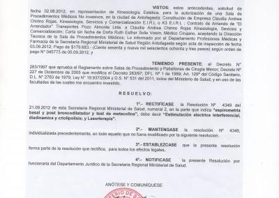 Resolución Sanitaria Kinesiología - 4426 - 1-10-12